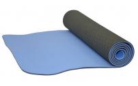 Jóga podložka TPE - 173 x 0,6 cm šedo/modrá