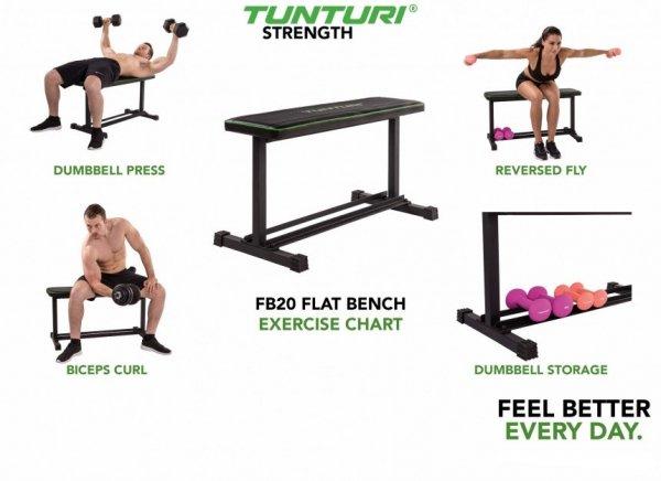Posilovací lavice na jednoručky TUNTURI FB20 Flat Bench