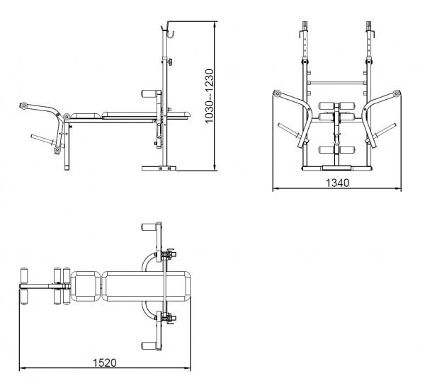 Posilovací lavice na bench press TRINFIT Bench FX2 výkresg