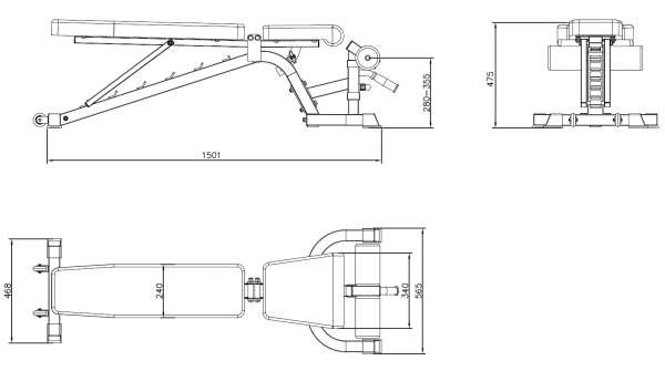 Posilovací lavice na břicho TRINFIT vario LX7 výkresg
