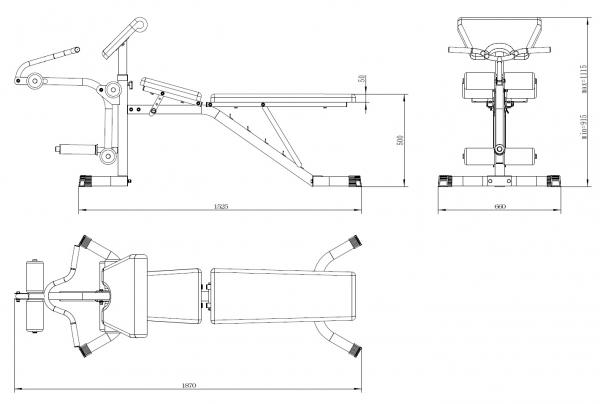 Posilovací lavice na jednoručky TRINFIT Vario LX4 rozměry